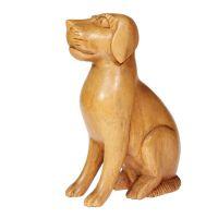 Soška Pes dřevo sedící 15 cm