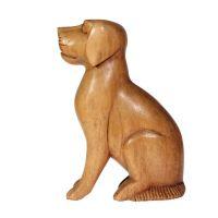 Soška Pes dřevo sedící 15 cm Indonesie