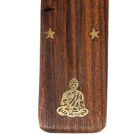 Stojánek na vonné tyčinky dřevěný - lyže Buddha Indie
